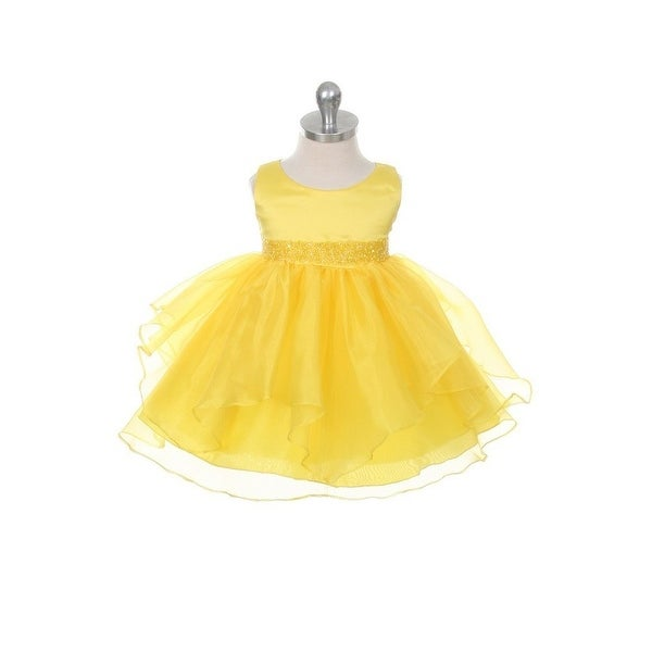 Chic Baby Yellow Organza Sequin Special Occasion Dress Baby Girl 3-24M