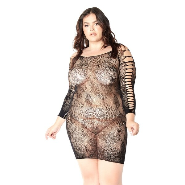 cda46f98723 Shop Plus Size Make It Happen Lace Chemise - Black - One Size Fits Most  Queen - Free Shipping On Orders Over  45 - Overstock - 28073258
