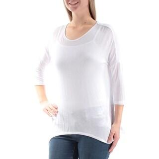 Womens White 3/4 Sleeve Jewel Neck Top Size M
