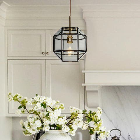 1-Light Anitque Coffee Patina Geometric Pendant Lamp with Clear Glass