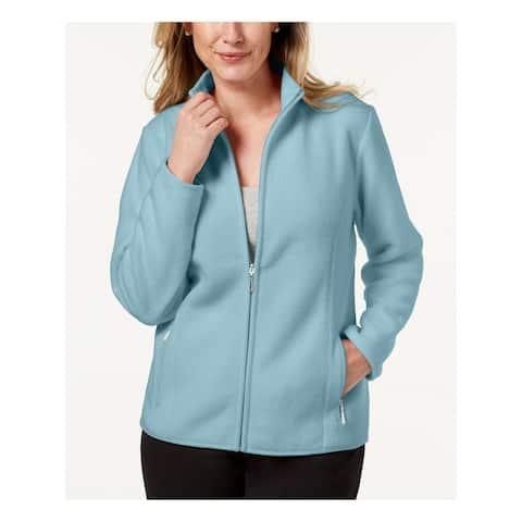 KAREN SCOTT Womens Aqua Textured Solid Zip Up Jacket Size XL