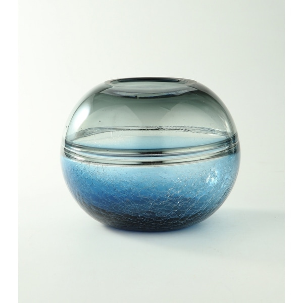 """8.5"""" Crackled Blue Ombre Hand Blown Sphere Glass Vase - N/A"""