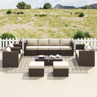 Link to Corvus Trey 12-piece Brown Wicker Patio Glass Top Conversation Set Similar Items in Outdoor Arm Chairs