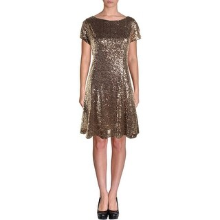 SLNY Womens Cocktail Dress Sequined Short Sleeves