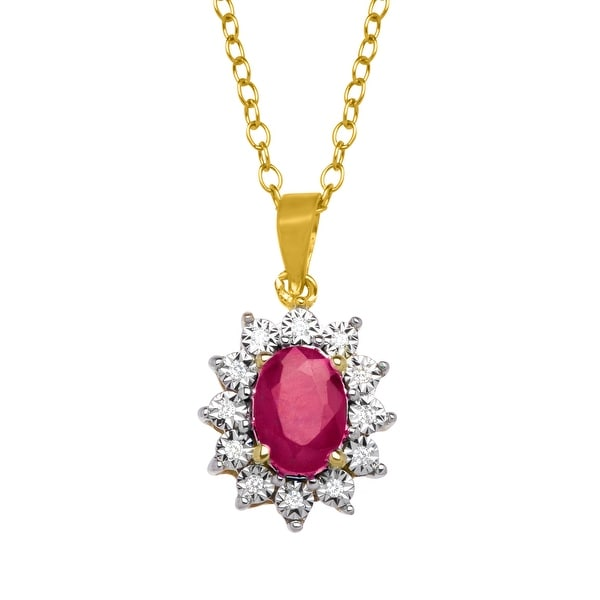 1 1/8 ct Natural Ruby Pendant with Diamonds in 10K Gold - Red
