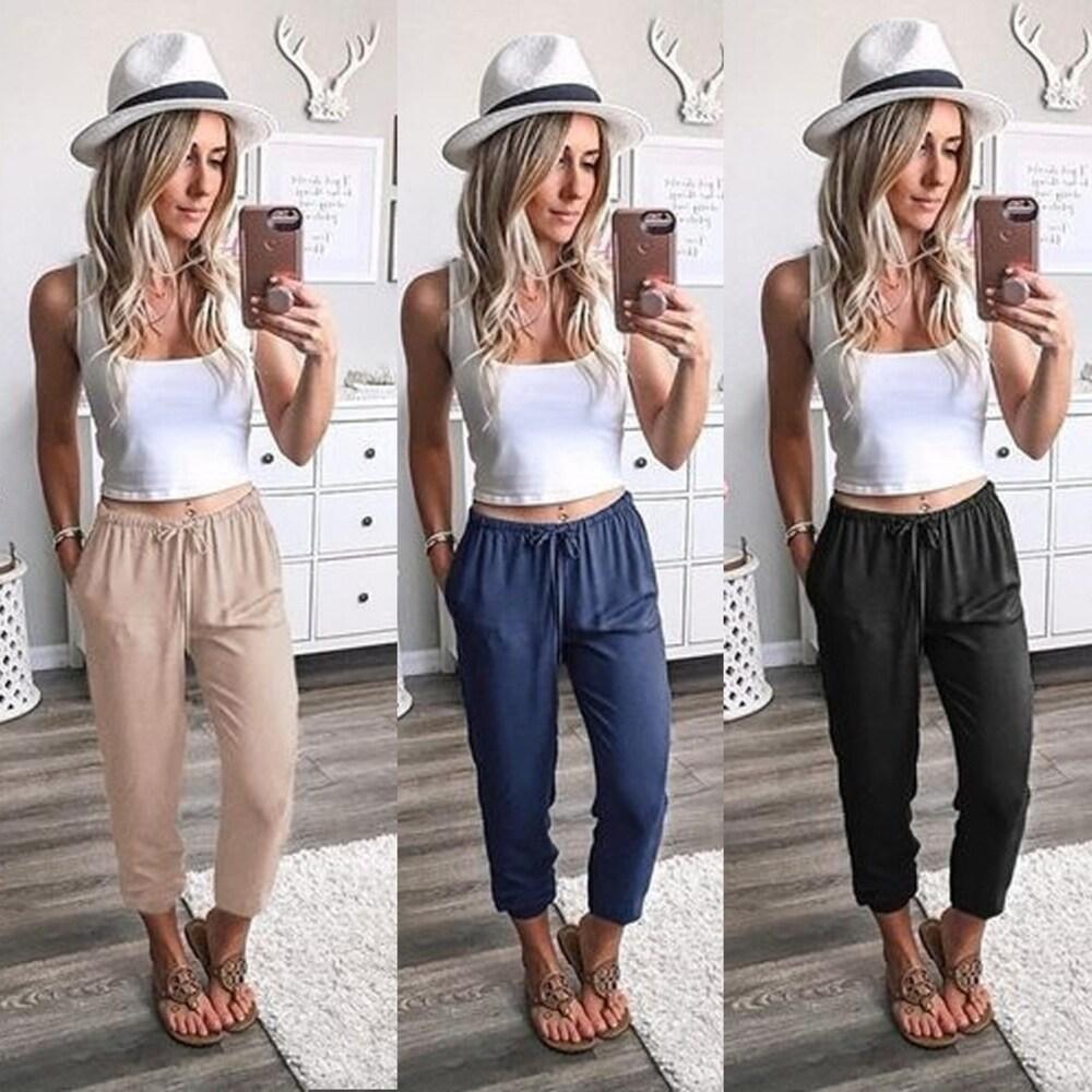 Solid Color Lace-Up Leg Nine Pants Low Waist Casual Pants