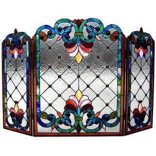 Chloe CH1F912BV44-GFS 44 in. Lighting Tiffany Glass Folding Victorian Fireplace Screen - 3 Piece