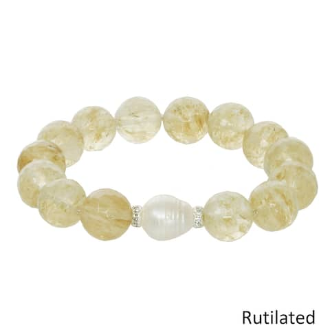 Genuine Gemstone and Freshwater Pearl Stretch Bracelet