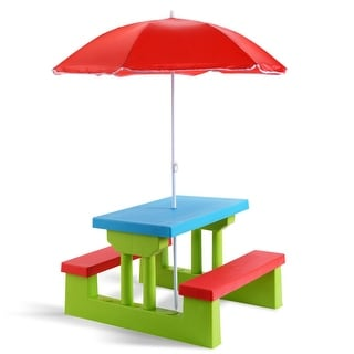 Costway 4 Seat Kids Picnic Table w/Umbrella Garden Yard Folding