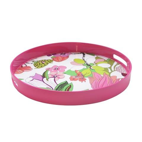 Trina Turk Spring Floral-Pink Round Tray
