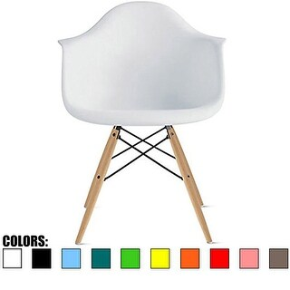 2xhome Single Plastic Color Armchair With Natural Wood Legs Dining - N/A