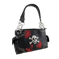 Rhinestone Skull and Embroidered Red Roses Concealed Carry Handbag