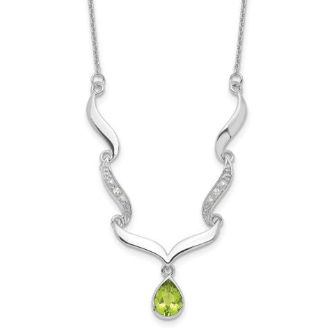 Sterling Silver Rhodium-plated with Peridot and White Topaz with 2-inch Extension Necklace
