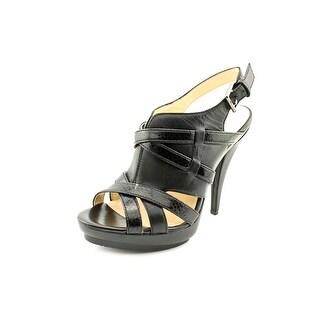 Calvin Klein Gene Women Open Toe Leather Black Platform Heel