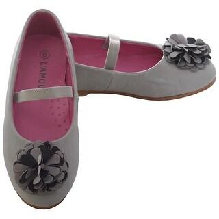 L'Amour Grey Rosette Ballet Flat Style Shoe Toddler Girl 7-10