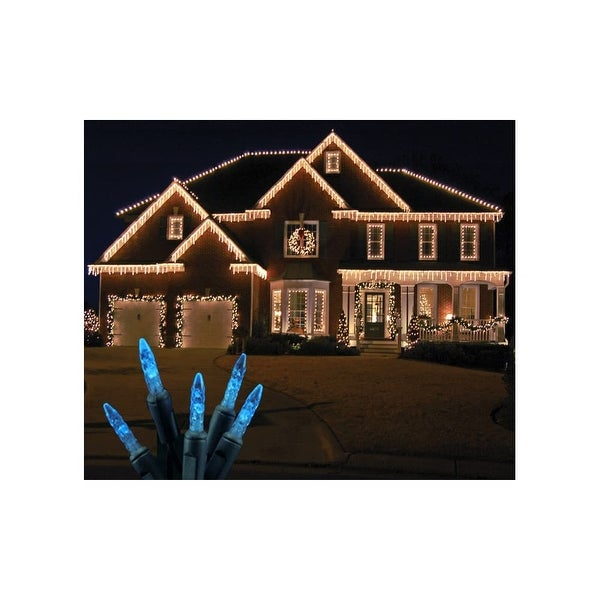 Christmas at Winterland S-ICM5BL-IG Standard Icicle Lights M5 LED Blue Faceted 70 Lights Green Wire 22 Gauge - N/A