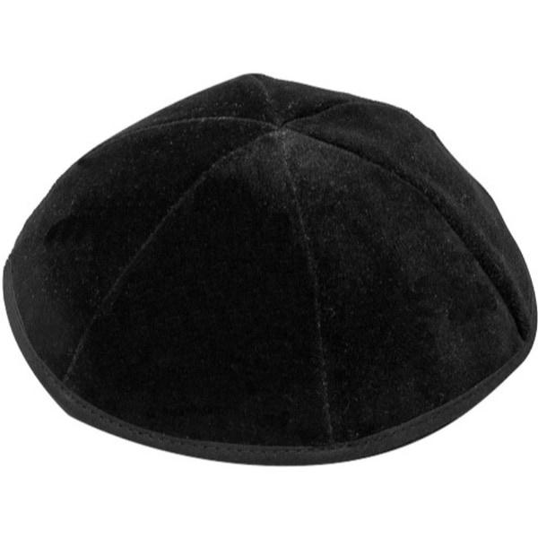 6 Part Black Yarmulke With Rim Size 4