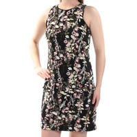 INC Womens Black Floral Sleeveless Jewel Neck Above The Knee Shift Dress  Size: S