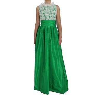 Dolce & Gabbana Green White Lace Silk Princess Maxi Dress - it40-s