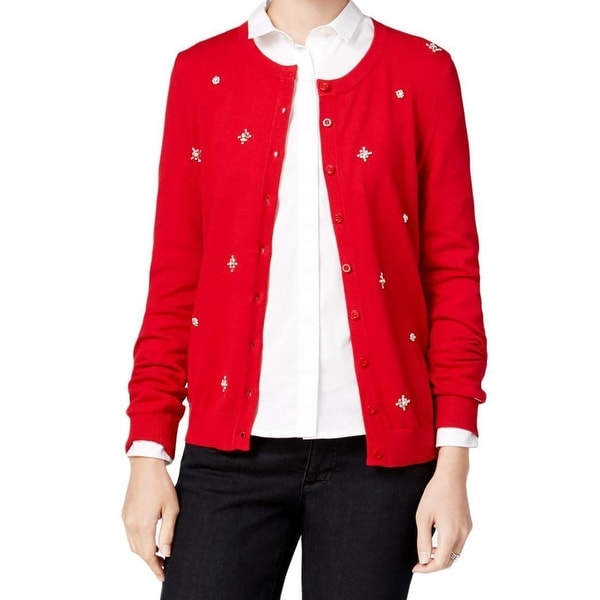4bda93c2f3 Shop Tommy Hilfiger NEW Red Womens Size Medium M Embellished Knit ...
