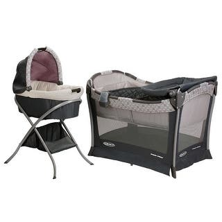 Graco Day2Night Bedroom Bassinet Pack n Play Playard Sleep System, Kendra|https://ak1.ostkcdn.com/images/products/is/images/direct/aa01fb456901a3fab742617908c4c2a1e57b5e13/Graco-Day2Night-Bedroom-Bassinet-Pack-n%E2%80%99-Play-Playard-Sleep-System%2C-Kendra.jpg?impolicy=medium