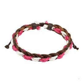 Brown Leather Bracelet with Pink and White Braided Strings Center (12 mm) - 7.5 in