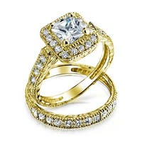 Bling Jewelry Gold Plated Silver Princess CZ Engagement Wedding Ring Set