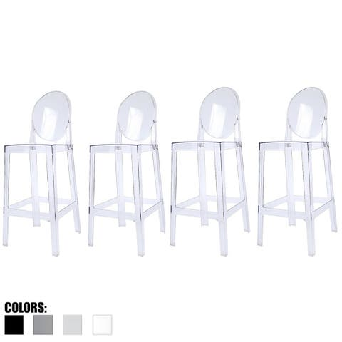 "2xhome Set of 4 30"" Seat Height Barstool Modern Plastic Side Bar Counter Stool Accent Armless Designer with Backs"