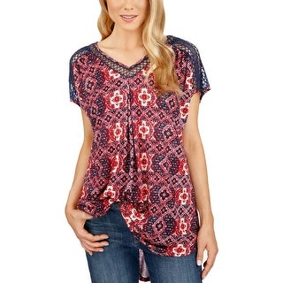 Lucky Brand Womens Pullover Top Hi-Low Hem Cap Sleeves