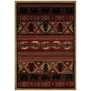 Link to Lodge King Red Pine Rustic Bear Area Rug Similar Items in Rugs
