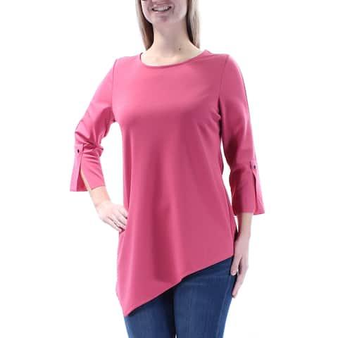 ALFANI Womens Pink 3/4 Sleeve Jewel Neck Trapeze Top Size: XL