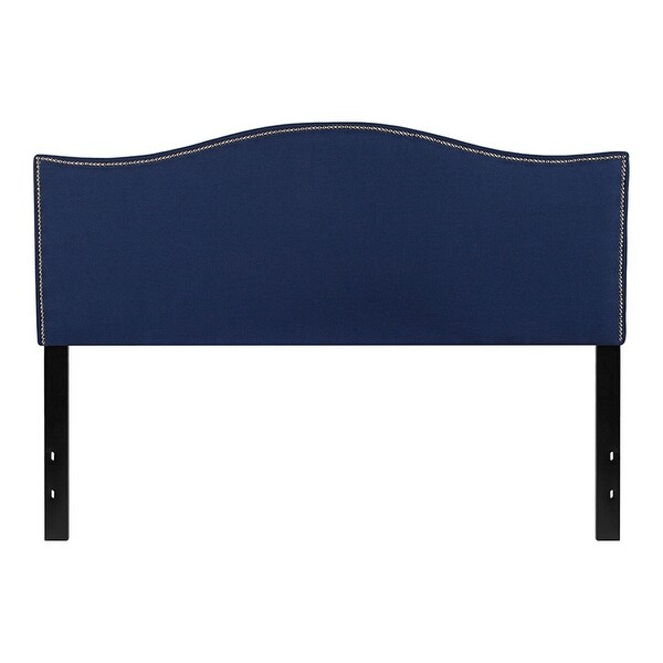 Offex Upholstered Queen Size Headboard with Accent Nail Trim in Navy Fabric