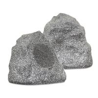 Theater Solutions 2R4G Outdoor Granite Rock 2 Speaker Set for Deck Patio Garden