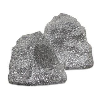 Theater Solutions 2R4G Outdoor Granite Rock 2 Speaker Set for Deck Patio Garden