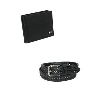 Tommy Hilfiger Men's Dress Belt and Bifold Wallet Set - Black