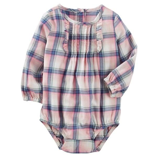 df2b119b200a Shop OshKosh B gosh Baby Girls  Peached Twill Plaid Bodysuit