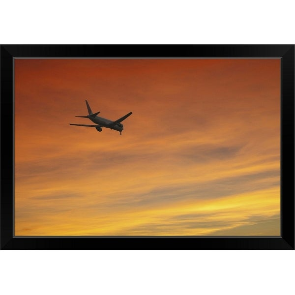 """Airplane at Dusk"" Black Framed Print"