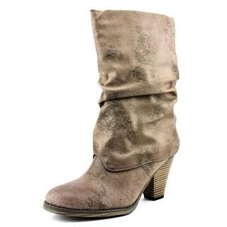 Mia Johnie Women Round Toe Synthetic Gray Mid Calf Boot