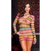 Long Sleeve Rainbow Net Mini Dress, Long Sleeve Fishnet Chemise - One Size Fits Most