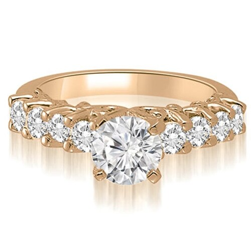 1.30 cttw. 14K Rose Gold Round Cut Diamond Engagement Ring