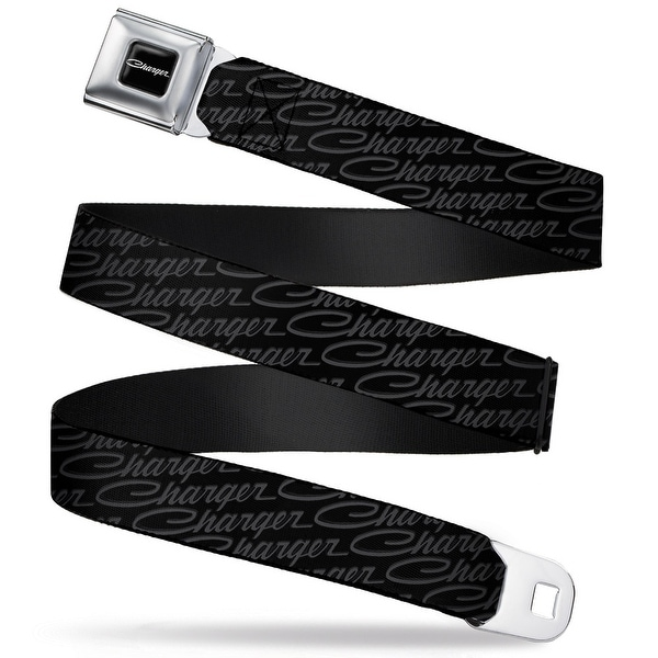 Charger Script Emblem Corner Full Color Black Silver Fade White Charger Seatbelt Belt