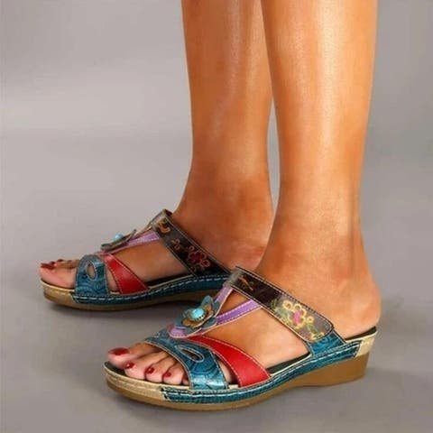 Dazzling Women's Sandals And Slippers Flower Flat Casual Drag