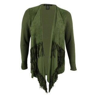 INC International Concepts Women's Fringe Faux-Suede Cardigan
