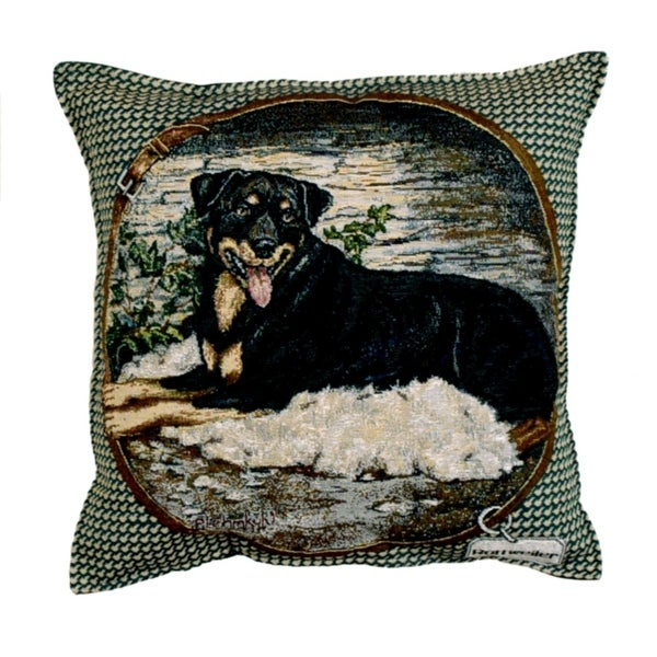 "18"" Black Rottweiler Dog Canine Throw Pillow"