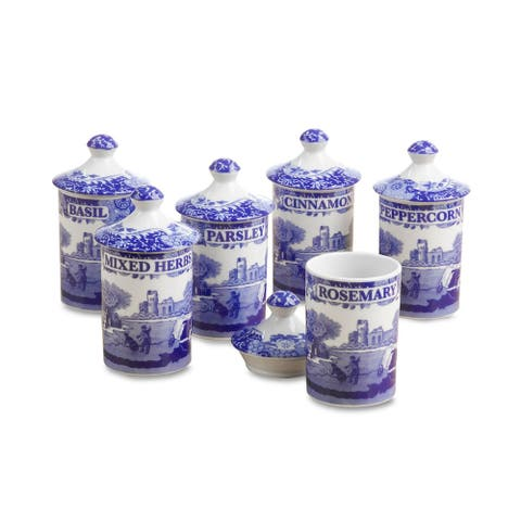 "Spode Blue Italian Spice Jars, Set of 6 - 4"""