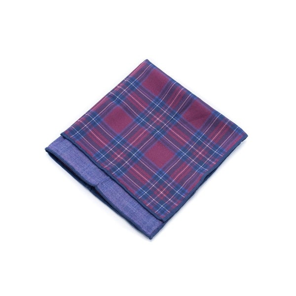 Brunello Cucinelli Blue Red Plaid Cotton Plaid Pocket Square