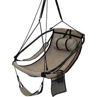 Hanging Hammock Camping Chair Swing - Drink Holder and Footrest - Beige