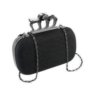Snakeskin Knuckle Duster Clutch Purse With Rhinestone Skull Accents - Blue