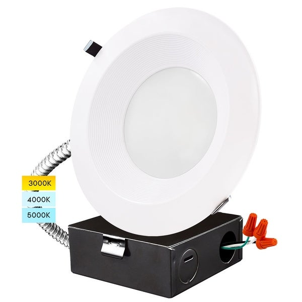 """Luxrite 10"""" LED Recessed Light with J-Box 22/29/37.5W, 3 Color Selectable, Dimmable, 2300/3000/3700 Lumens, Wet Rated. Opens flyout."""