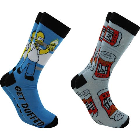 Hyp The Simpsons Homer Simpson Duff Men's Crew Socks 2 Pair Pack Shoe Size 6-12